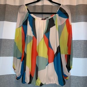 Vince Camuto Geometric Top 3/4 Sleeve Blouse